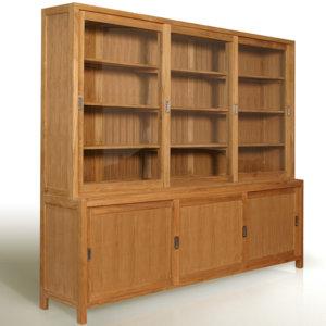 Шкаф книжный со стеклянными дверцами с ящиками
